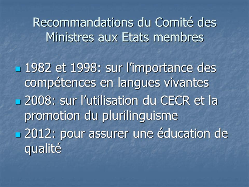 Recommandations du Comité des Ministres aux Etats membres