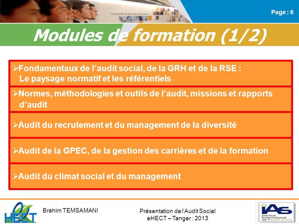 Modules de formation (1/2)