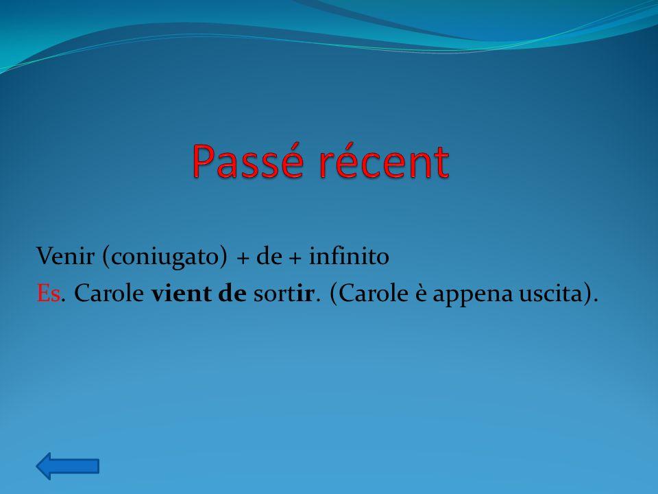 Passé récent Venir (coniugato) + de + infinito