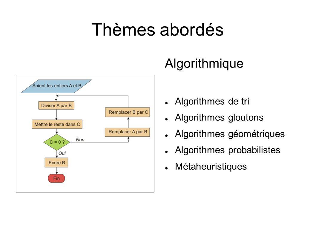 Thèmes abordés Algorithmique Algorithmes de tri Algorithmes gloutons