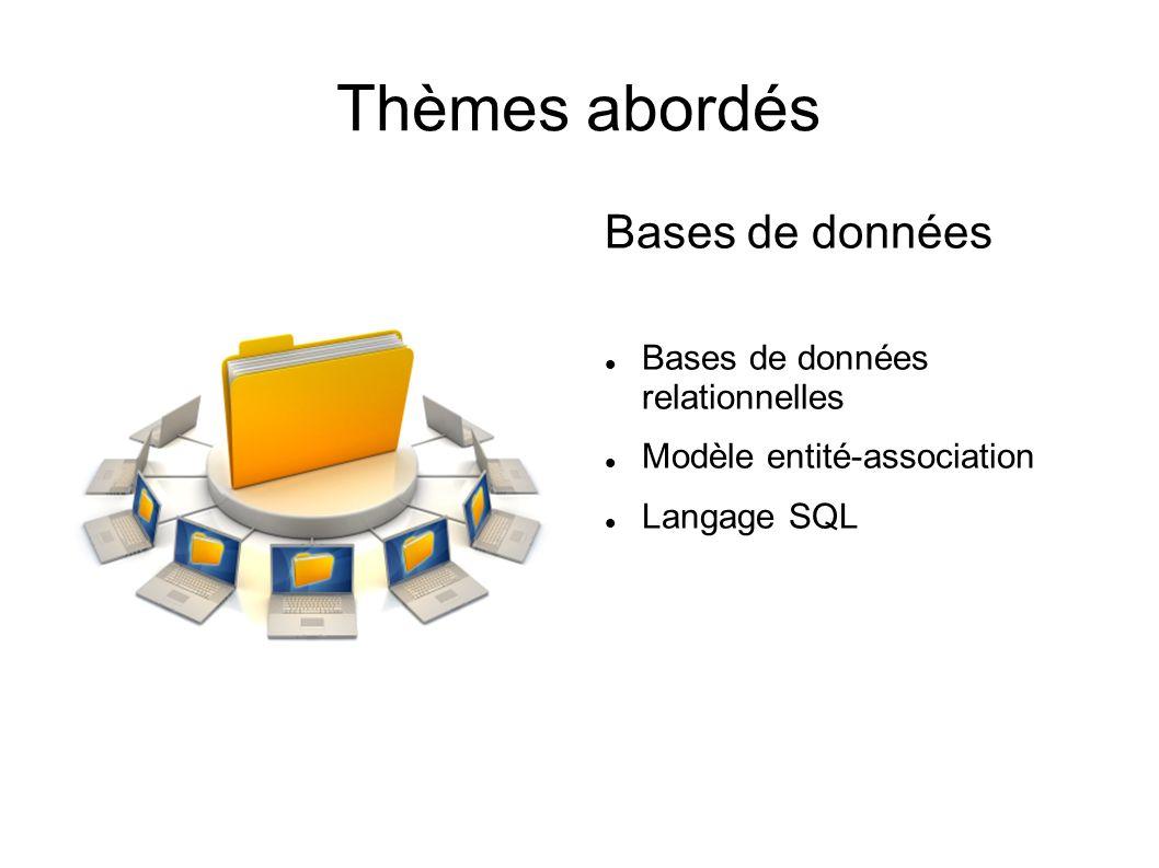 Thèmes abordés Bases de données Bases de données relationnelles