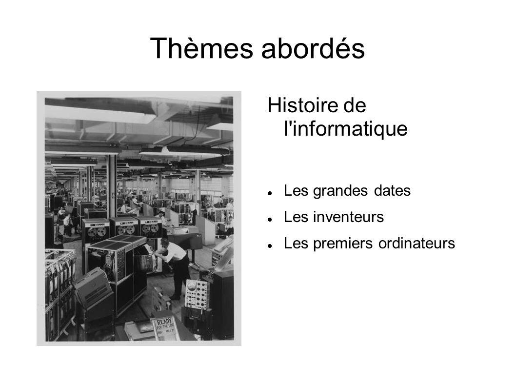 Thèmes abordés Histoire de l informatique Les grandes dates