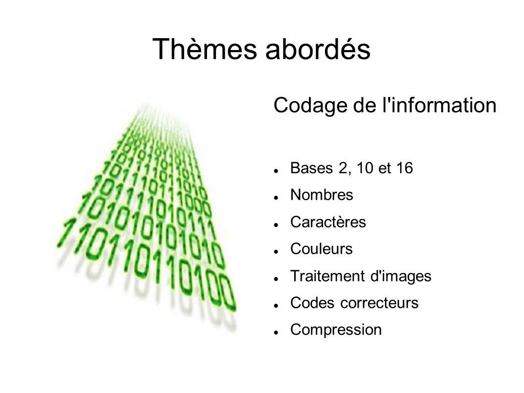 Thèmes abordés Codage de l information Bases 2, 10 et 16 Nombres