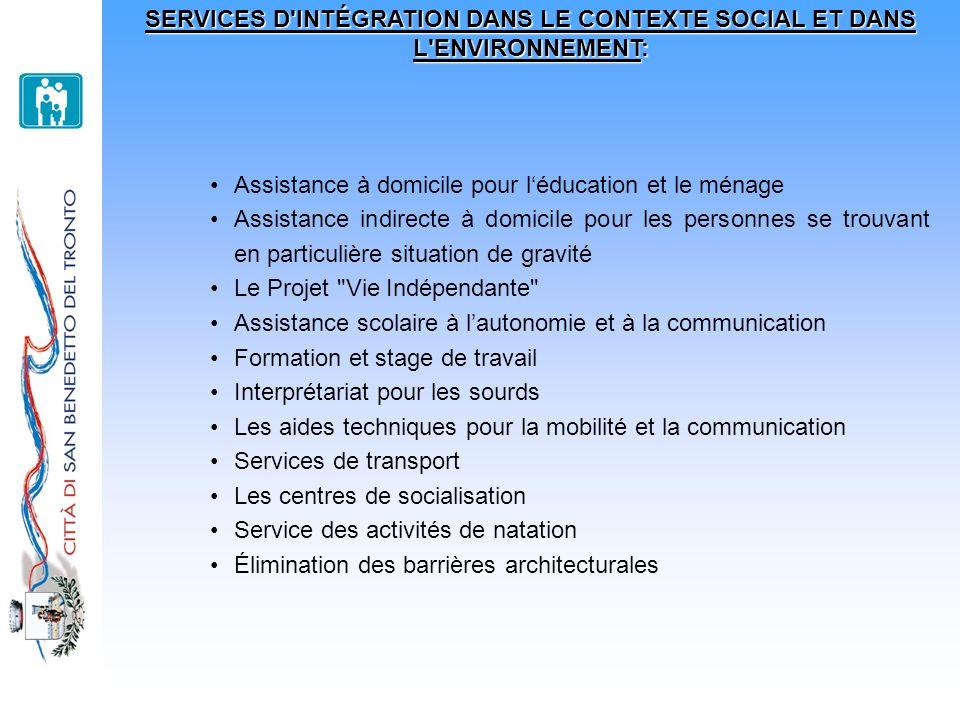 SERVICES D INTÉGRATION DANS LE CONTEXTE SOCIAL ET DANS L ENVIRONNEMENT: