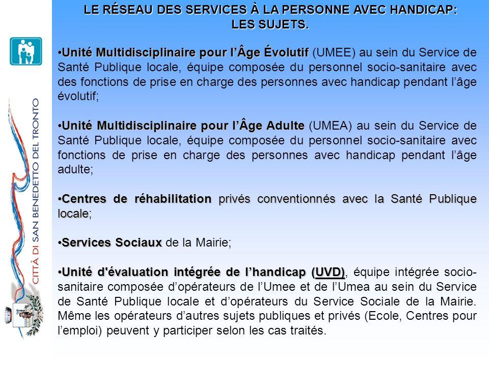 LE RÉSEAU DES SERVICES À LA PERSONNE AVEC HANDICAP: