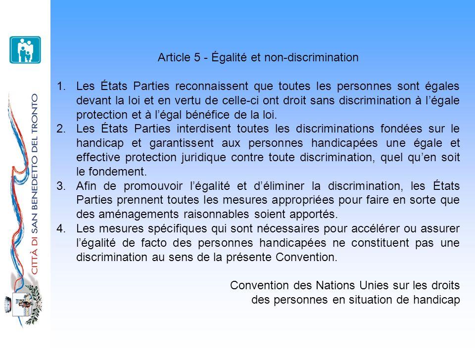 Article 5 - Égalité et non-discrimination