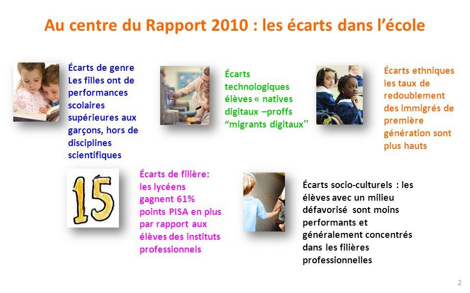 Au centre du Rapport 2010 : les écarts dans l'école