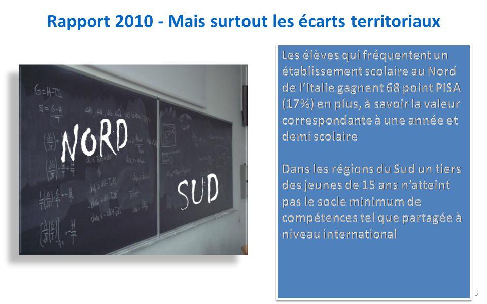 Rapport 2010 - Mais surtout les écarts territoriaux