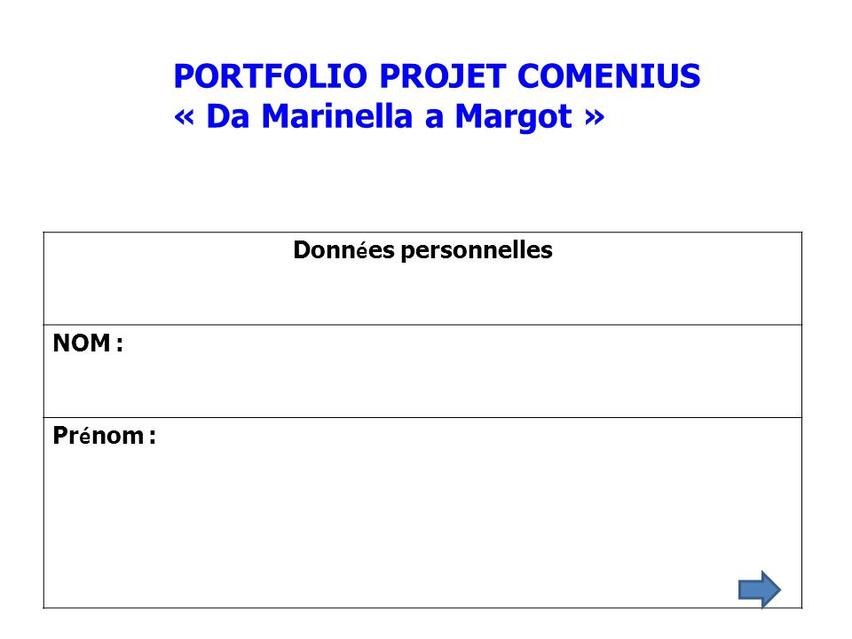 PORTFOLIO PROJET COMENIUS « Da Marinella a Margot »