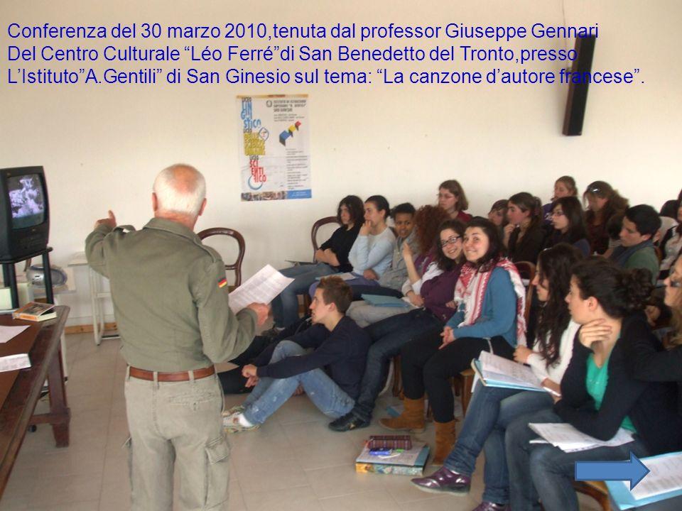 Conferenza del 30 marzo 2010,tenuta dal professor Giuseppe Gennari