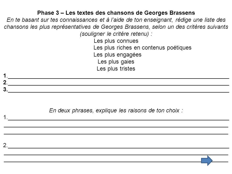 Phase 3 – Les textes des chansons de Georges Brassens
