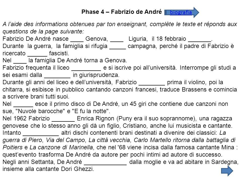 Phase 4 – Fabrizio de André