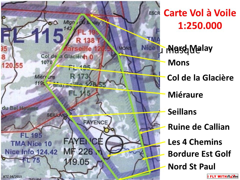 Carte Vol à Voile 1:250.000 Nord Malay Mons Col de la Glacière