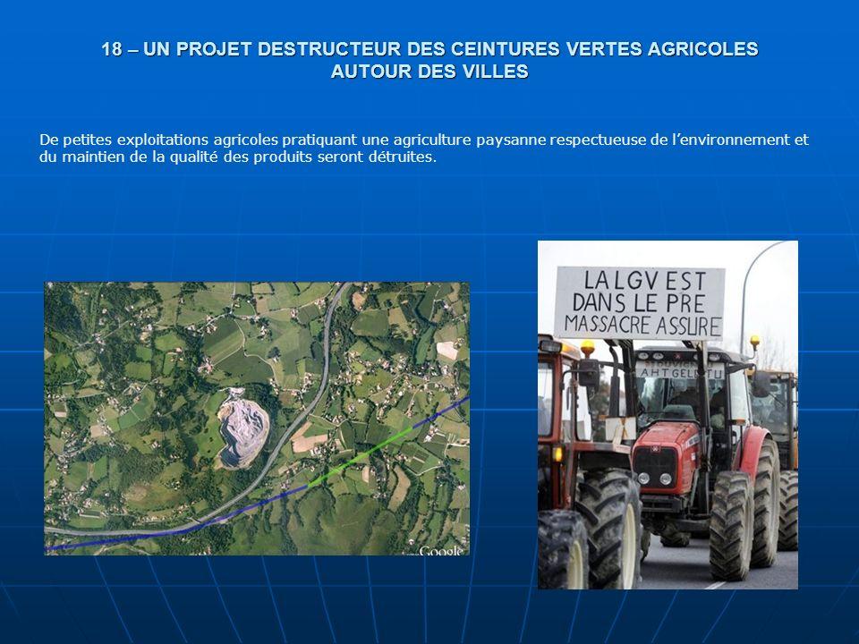 18 – UN PROJET DESTRUCTEUR DES CEINTURES VERTES AGRICOLES AUTOUR DES VILLES