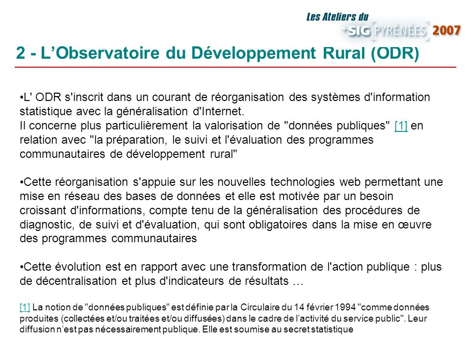 2 - L'Observatoire du Développement Rural (ODR)