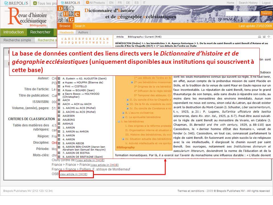 La base de données contient des liens directs vers le Dictionnaire d'histoire et de