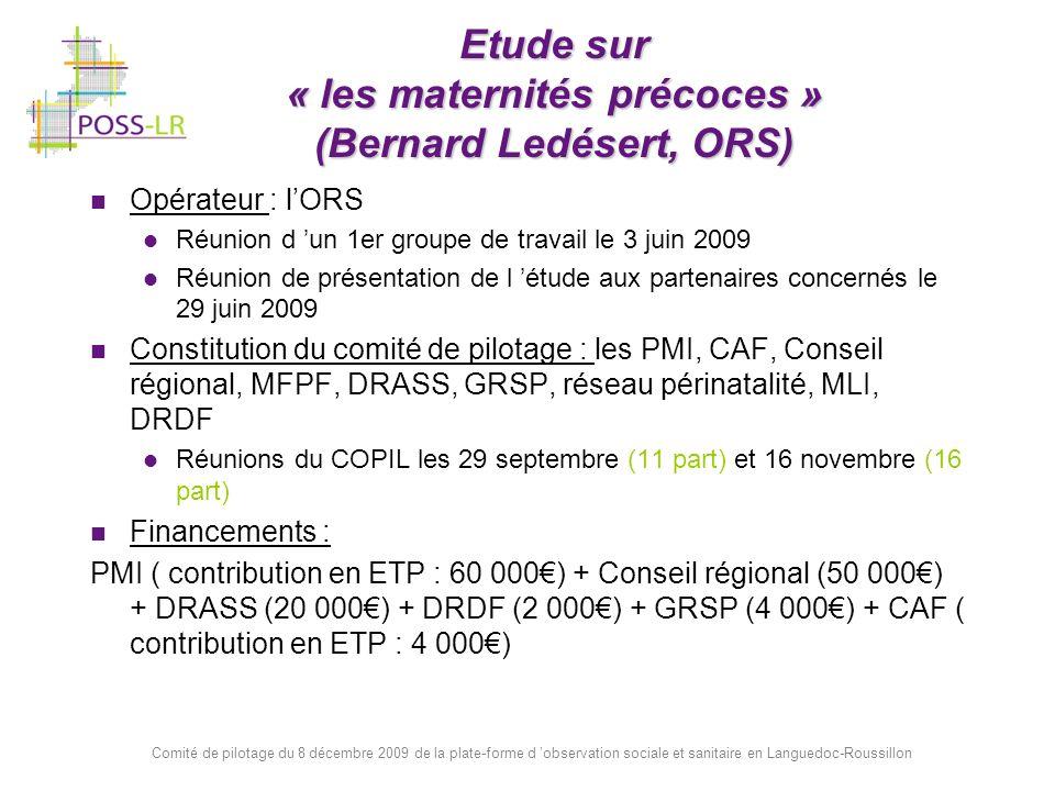 Etude sur « les maternités précoces » (Bernard Ledésert, ORS)