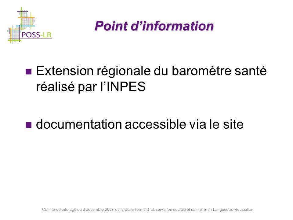 Extension régionale du baromètre santé réalisé par l'INPES