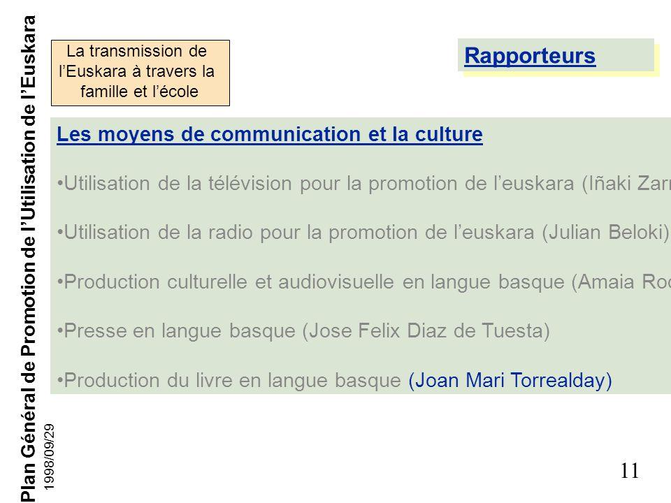 Rapporteurs Les moyens de communication et la culture