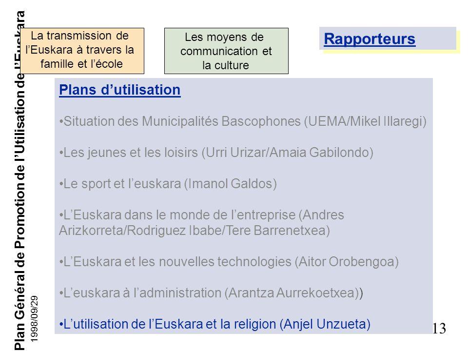 Rapporteurs Plans d'utilisation