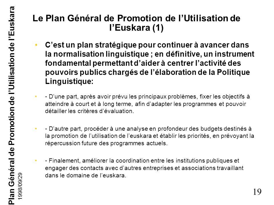 Le Plan Général de Promotion de l'Utilisation de l'Euskara (1)