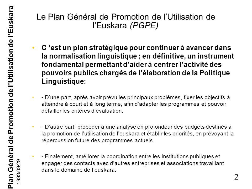 Le Plan Général de Promotion de l'Utilisation de l'Euskara (PGPE)