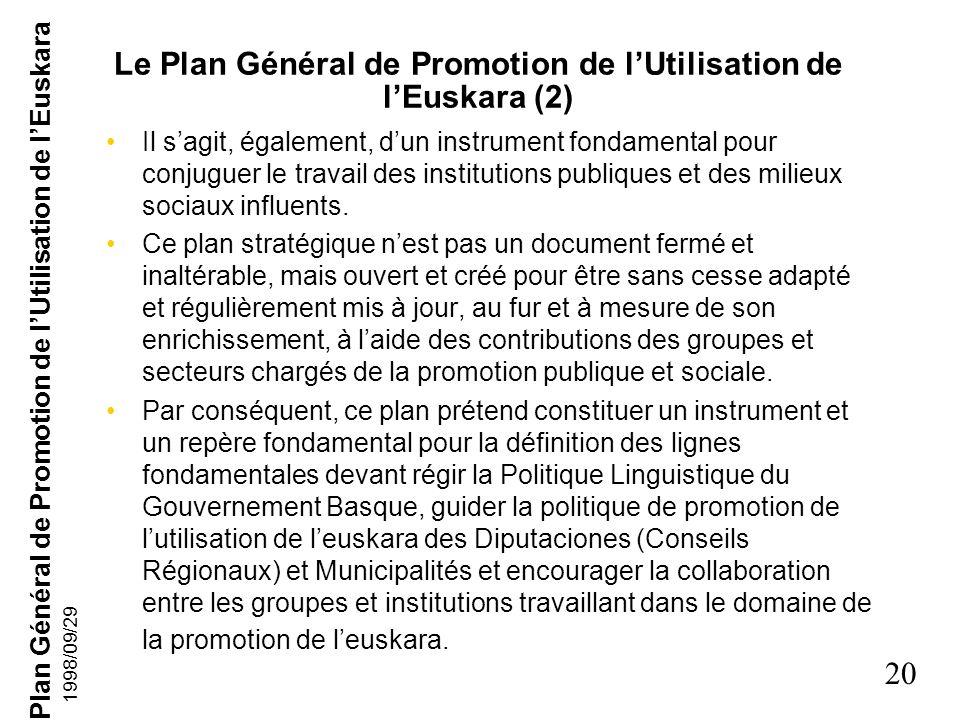 Le Plan Général de Promotion de l'Utilisation de l'Euskara (2)