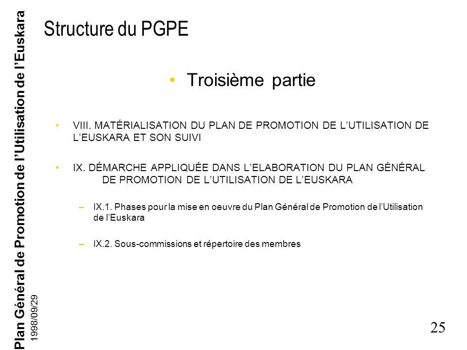 Structure du PGPE Troisième partie
