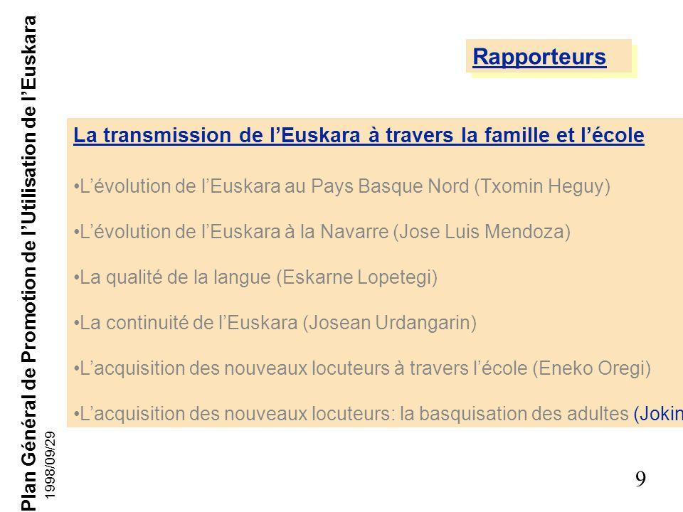 RapporteursLa transmission de l'Euskara à travers la famille et l'école. L'évolution de l'Euskara au Pays Basque Nord (Txomin Heguy)