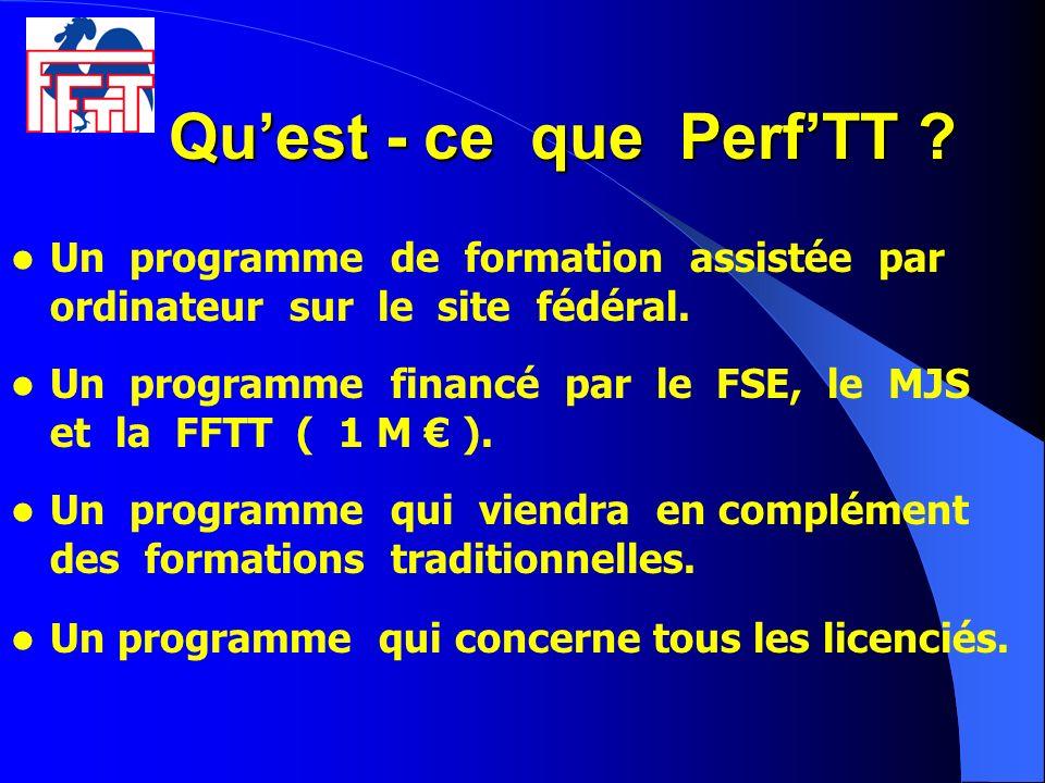 Qu'est - ce que Perf'TT Un programme de formation assistée par ordinateur sur le site fédéral.
