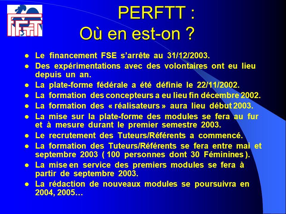 PERFTT : Où en est-on Le financement FSE s'arrête au 31/12/2003.