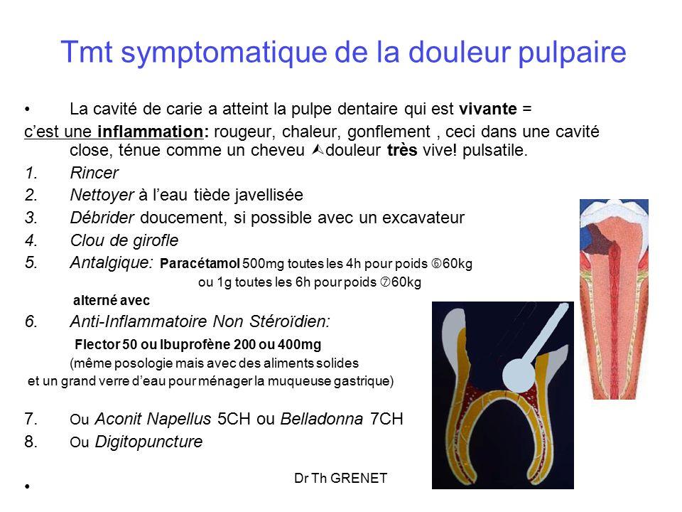 Tmt symptomatique de la douleur pulpaire