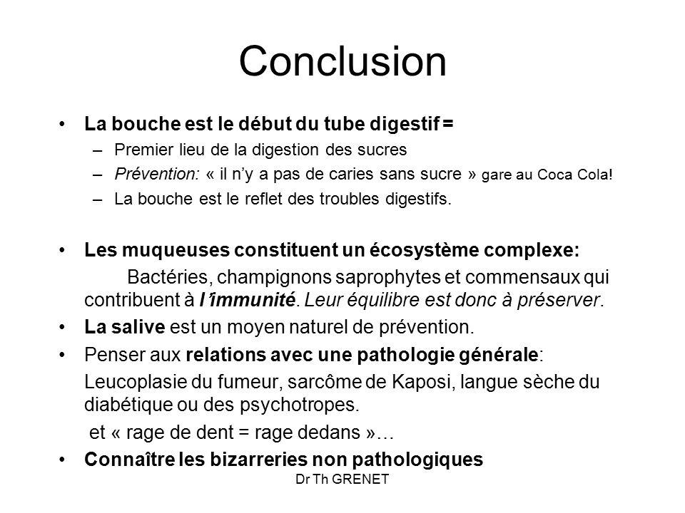 Conclusion La bouche est le début du tube digestif =