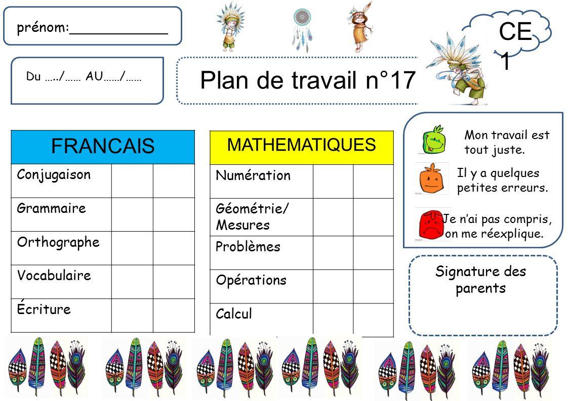 Ce1 francais mathematiques pr nom signature for Plan du travail