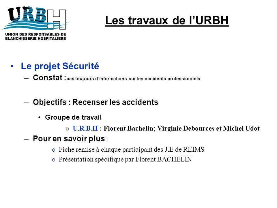 Les travaux de l'URBH Le projet Sécurité