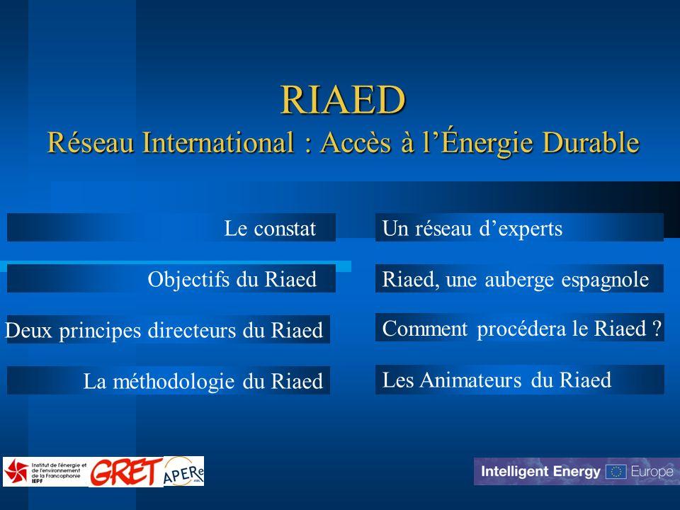 RIAED Réseau International : Accès à l'Énergie Durable