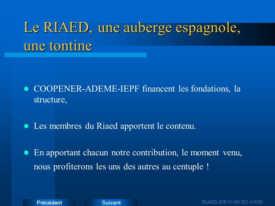 Le RIAED, une auberge espagnole, une tontine