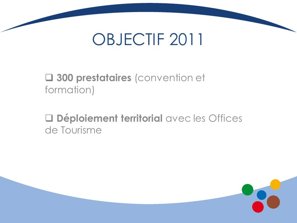 OBJECTIF 2011 300 prestataires (convention et formation)