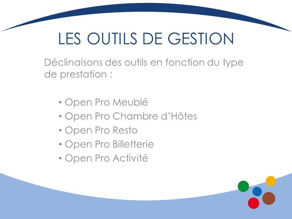 LES OUTILS DE GESTION Déclinaisons des outils en fonction du type de prestation : Open Pro Meublé.