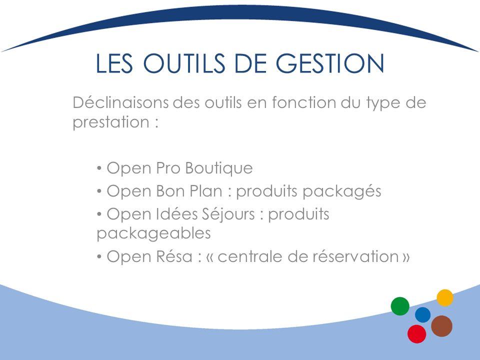 LES OUTILS DE GESTION Déclinaisons des outils en fonction du type de prestation : Open Pro Boutique.