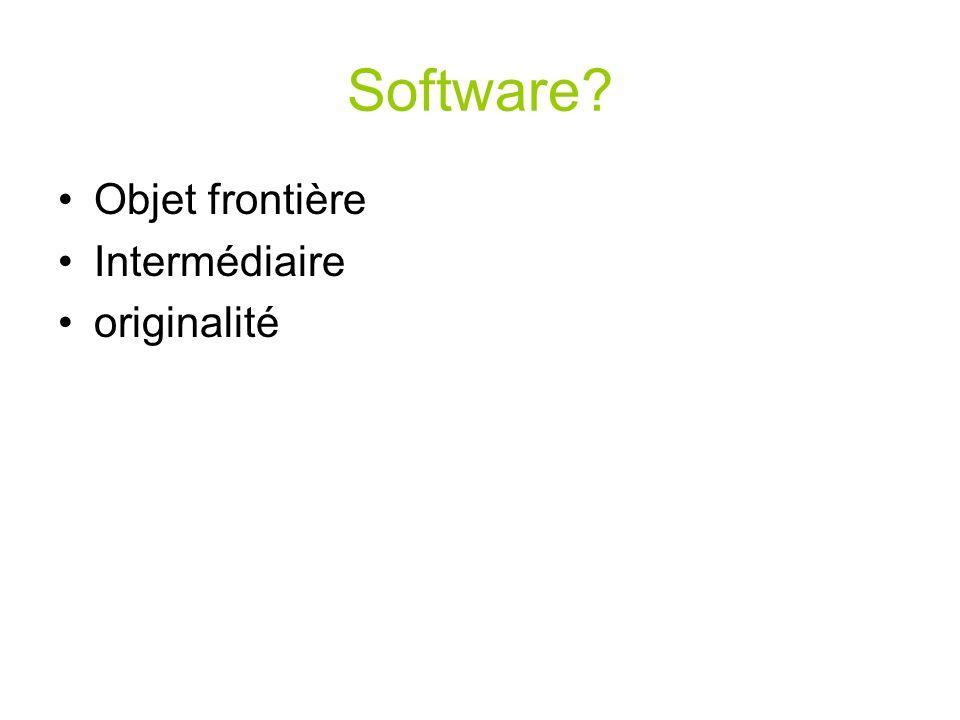 Software Objet frontière Intermédiaire originalité
