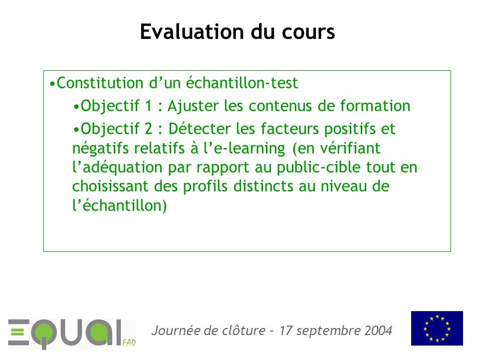Evaluation du cours Constitution d'un échantillon-test
