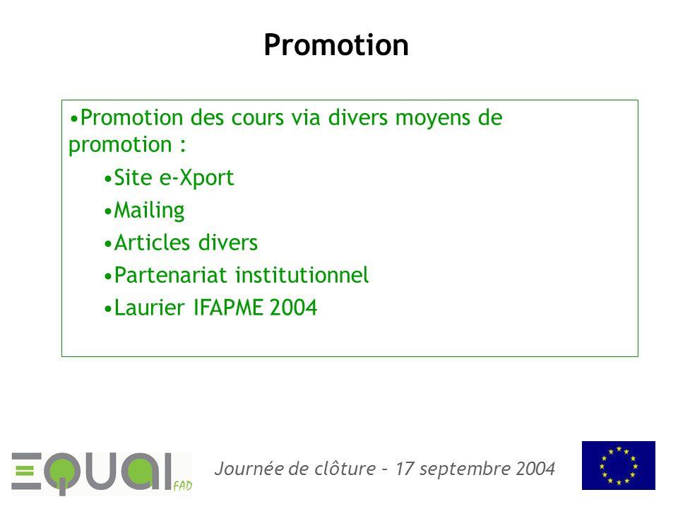 Promotion Promotion des cours via divers moyens de promotion :
