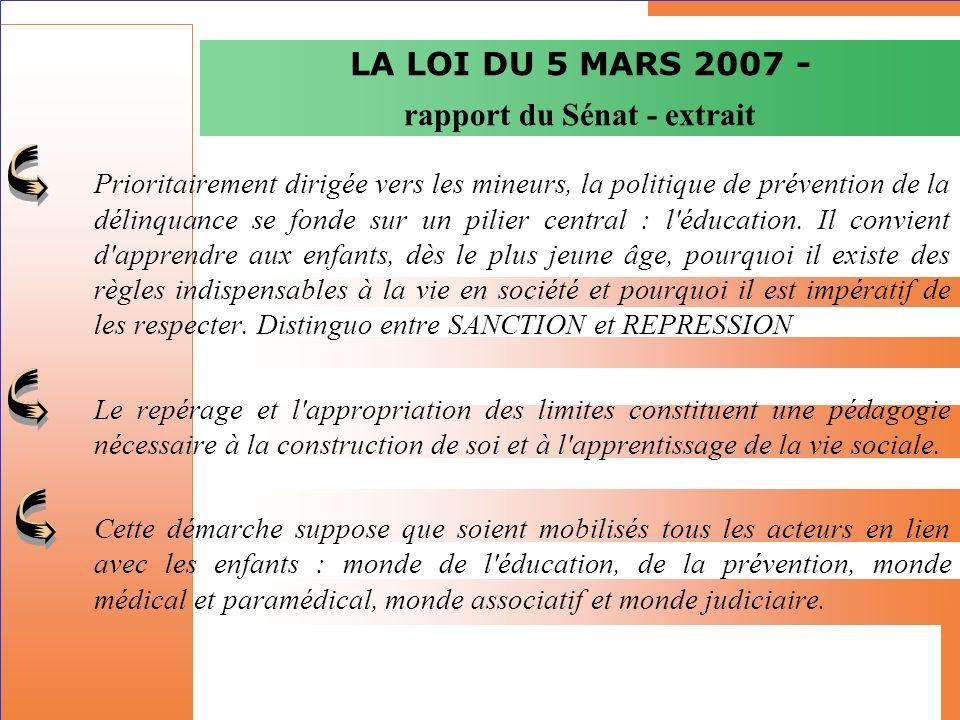 LA LOI DU 5 MARS 2007 - rapport du Sénat - extrait