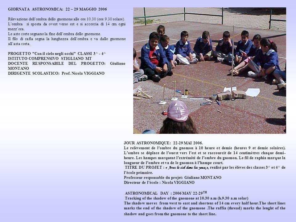 GIORNATA ASTRONOMICA: 22 – 29 MAGGIO 2006