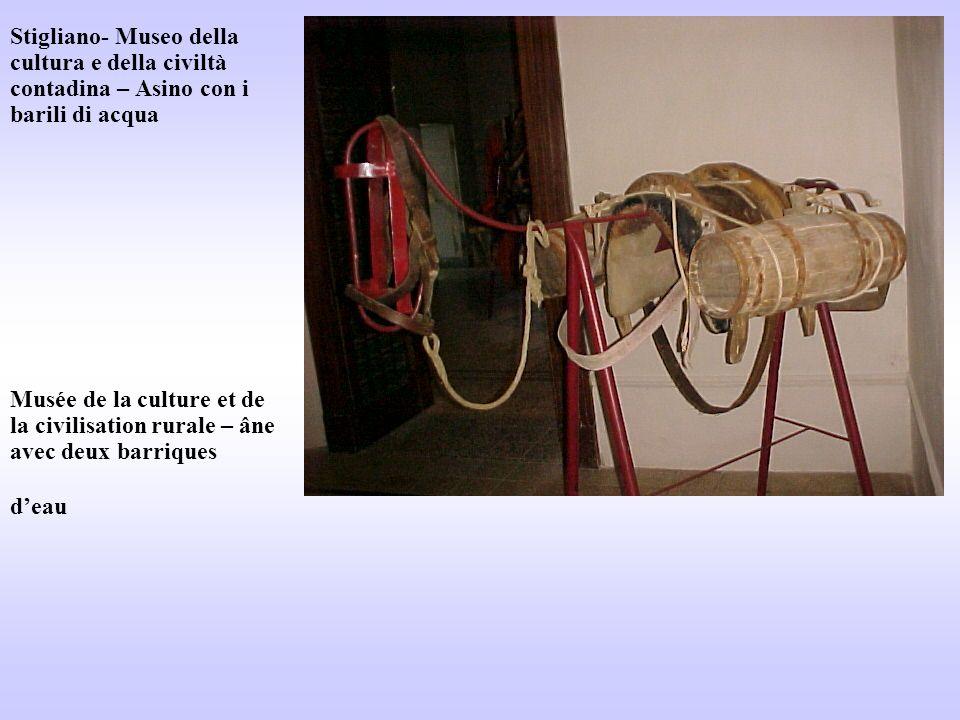Stigliano- Museo della cultura e della civiltà contadina – Asino con i barili di acqua Musée de la culture et de la civilisation rurale – âne avec deux barriques d'eau