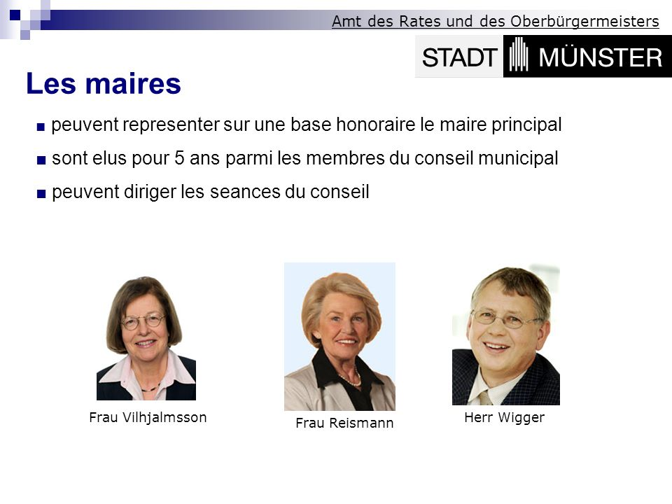 Les maires■ peuvent representer sur une base honoraire le maire principal. ■ sont elus pour 5 ans parmi les membres du conseil municipal.
