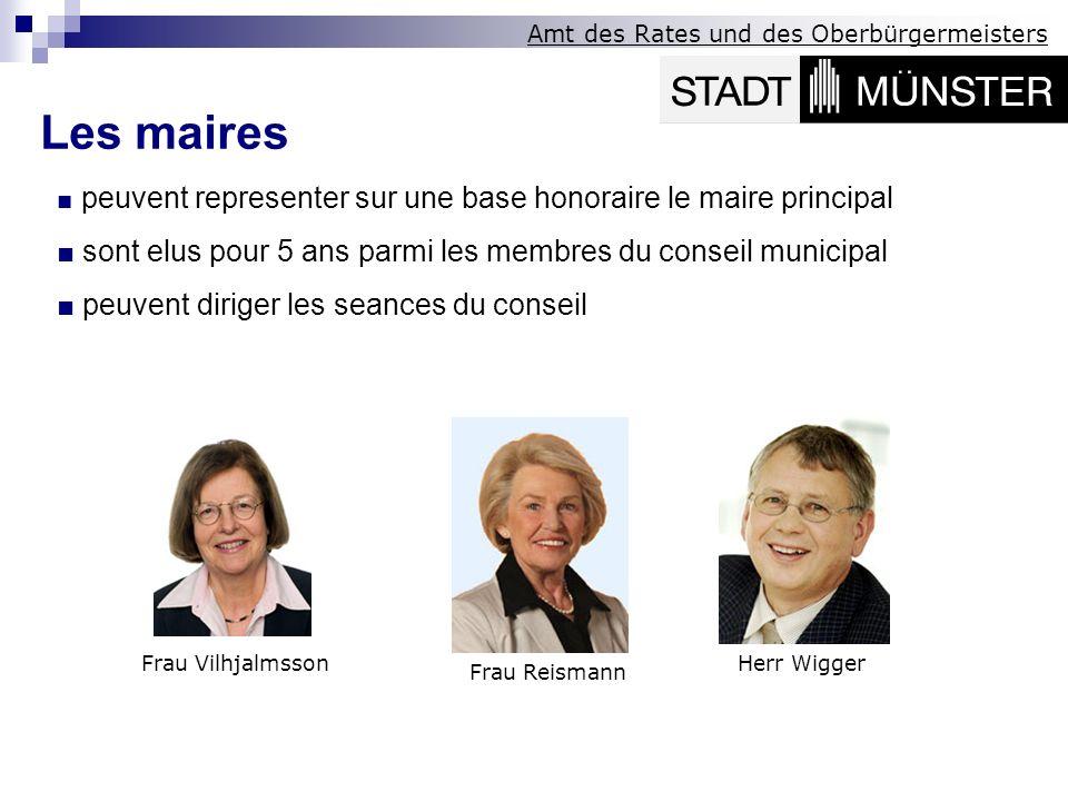 Les maires ■ peuvent representer sur une base honoraire le maire principal. ■ sont elus pour 5 ans parmi les membres du conseil municipal.