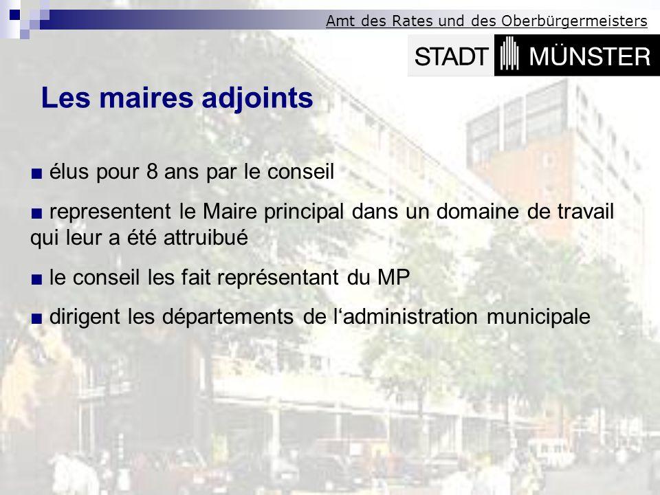 Les maires adjoints ■ élus pour 8 ans par le conseil