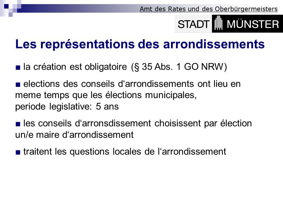 Les représentations des arrondissements